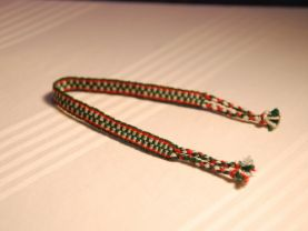 Green, White and Red Friendship Bracelet