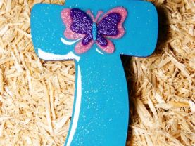 Handmade Blue (turquoise) Wooden Cross with Butterfly