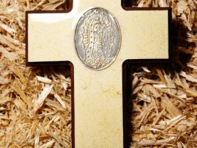 Handmade Beige Wooden Cross with Virgin Mary