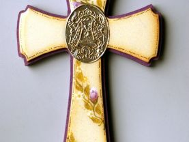 Handmade Purple/Yellow Wooden Cross, Polyester finish and Artistic resin