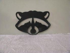 Raccoon Face Metal Silhouette Wildlife Wall Art