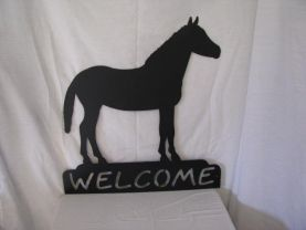 Horse 001 Welcome Metal Silhouette Wall Art