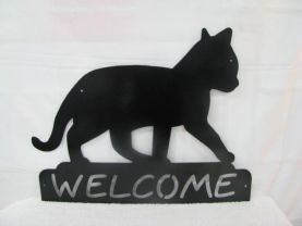 Cat 012 Welcome Metal Silhouette Wall Art