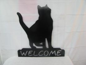 Cat 013 Welcome Wall Art Metal Silhouette