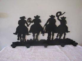 Cowboys Coat Rack Metal Western Wall Art Silhouette