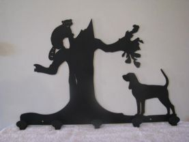 Hound and Coon Coat Rack Metal Wall Art Silhouette