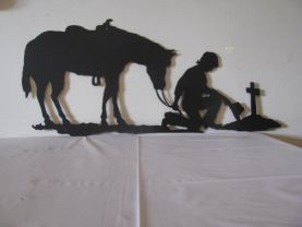 Praying Cowboy and Horse Metal Silhouette Wall Art