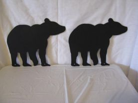 Bear 002 Metal Wall Art Wildlife Silhouette Set of (2)