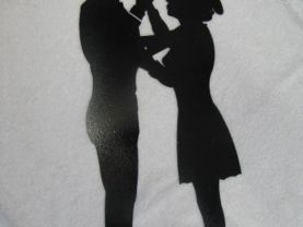Cowgirl and Cowboy Dance 002 Silhouette Western Metal Wall Art