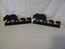 Bear 004 Mailbox Topper Metal Wall Art Wildlife Silhouette Set of 2