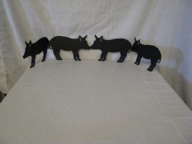 4 Little Pigs Went to the Market Metal Wall Art Farm Silhouette