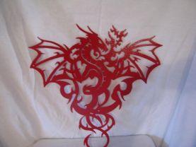 Dragon 2L Metal Wall Art Silhouette Red