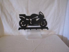 Motorcycle 001 Key Holder Metal Wall Art Silhouette