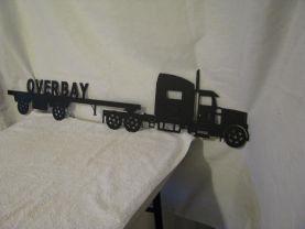 Tractor Trailer Flat Bed Metal Wall Yard Art Silhouette