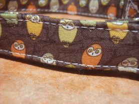 THE WHOO Brown Owl Organic Cotton Dog Collar Retro Vintage SIZE MEDIUM - - All Antique Brass Hardware