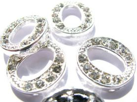 oval ellipser clear zirconia  silver spacers bead  findings connector 18mm 20sets--3row