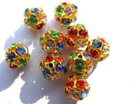 batch ball round gold plated spacers bead with rainbow mixed rhinestone findings 10mm 100pcs