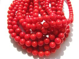 bulk  round ball hot red reddish coral bead  loose bead 5mm 80pcs full strand---5strands
