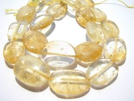 freeform chips oval flat natural citrine quartz 13-20mm full strand