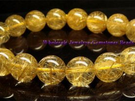 high quality round ball natural gold hair rutilated quartz Bracelet loose beads jewelry  11m 17pcs 7.8inch