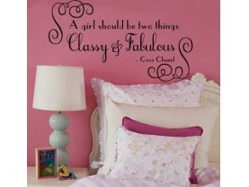 Wall Decal Coco Chanel A girl should be Fabulous and Classy Vinyl Wall Quote Decal
