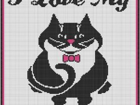 I Love My Cat Crochet Pattern Afghan Graph #114