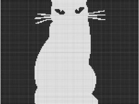 Black Cat Silhouette Crochet Pattern Afghan Graph #125