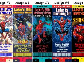 Spiderman Birthday Party Ticket Invitations, Supplies, and Favors