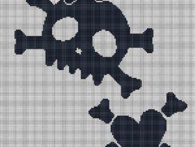 Black White Skull X Bones Crochet PAttern Afghan Graph E-mailed #668