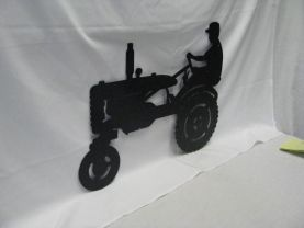 Tractor 00 1 with Farmer Silhouette Metal Wall Yard Art