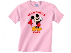 Personalized Mickey Mouse Custom Birthday Pink or Blue Shirt in sizes Toddler 2T to Youth XL