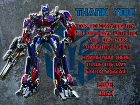 Transformers Optimus Prime Thank You Card Personalized Birthday Digital File