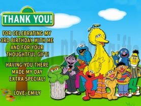 Sesame Street Thank You Card Personalized Birthday Digital File