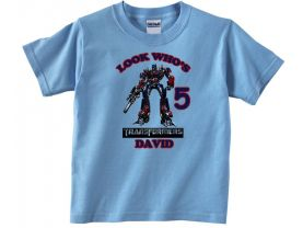 Personalized Transformers Optimus Prime Custom Birthday Pink or Blue Shirt in sizes Toddler 2T to Youth XL