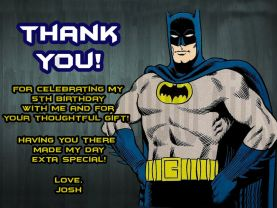 Batman Thank You Card Personalized Birthday Digital File