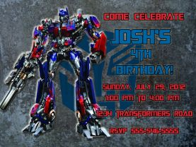 Transformers Optimus Prime Invitation Personalized Birthday Digital File