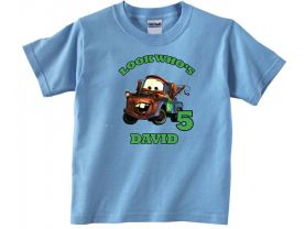 Cars Tow Mater Personalized  Custom Birthday Pink or Blue Shirt in sizes Toddler 2T to Youth XL