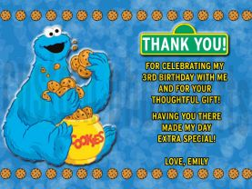 Sesame Street Cookie Monster Thank You Card Personalized Birthday Digital File