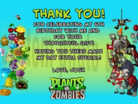 Plants vs Zombies Thank You Card Personalized Birthday Digital File