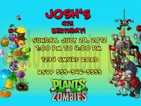 Plants vs Zombies Birthday Invitation Personalized Digital File