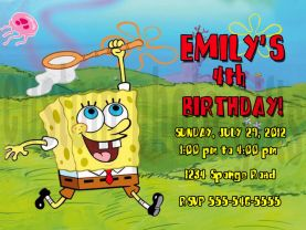 Spongebob Squarepants Invitation Personalized Birthday Digital File