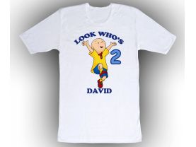Caillou Personalized Custom Birthday White Shirt in sizes Toddler 2T to Adult XL