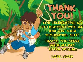 Go Diego Go Thank You Card Personalized Birthday Digital File
