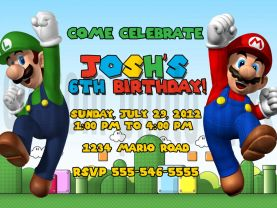 Super Mario Brothers Invitation Personalized Birthday Digital File