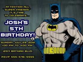 Batman Birthday Invitation Personalized Digital File