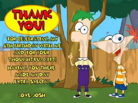 Phineas and Ferb Thank You Card Personalized Birthday Digital File