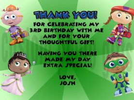 Super Why Thank You Card Personalized Birthday Digital File