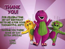 Barney Thank You Card Personalized Birthday Digital File