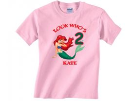 Disney Princess Ariel Personalized Custom Birthday Pink or Blue Shirt in sizes Toddler 2T to Youth XL