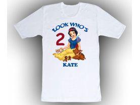 Disney Princess Snow White Personalized Custom Birthday White Shirt in sizes Toddler 2T to Adult XL